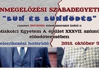 Bűnmegelőzési Szabadegyetem – 2018. október 11 – november 14. között